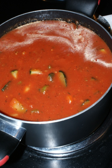 Tomato Zucchini Soup - Unblended
