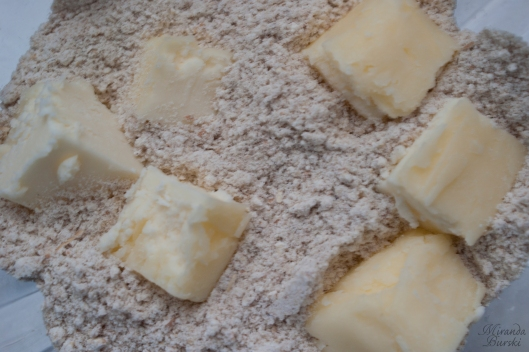 Cubed butter in dough ingredients