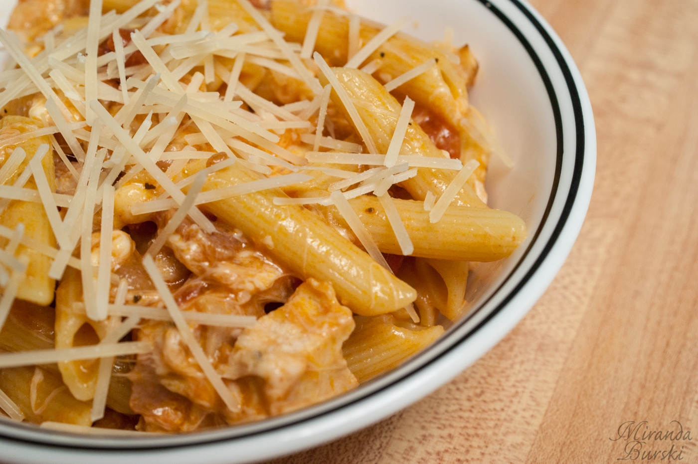 Rigatoni in Blush Sauce with Chicken and Bacon