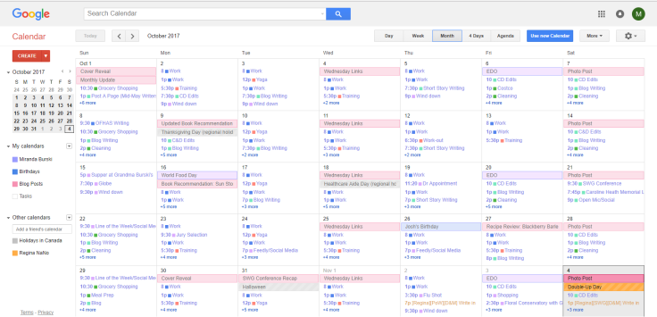 Monthly Google Calendar View