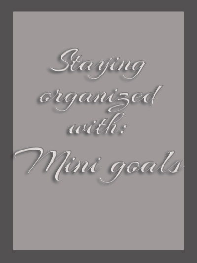 Staying organized with: Mini goals