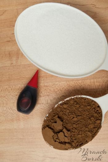 Sugar, cocoa powder, and red food colouring