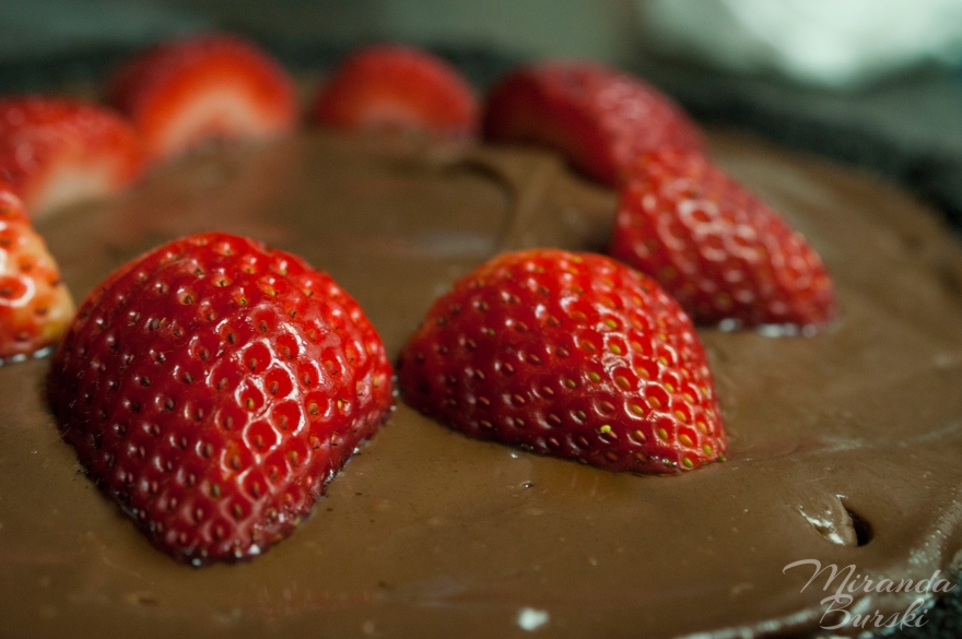 Strawberry and chocolate pie