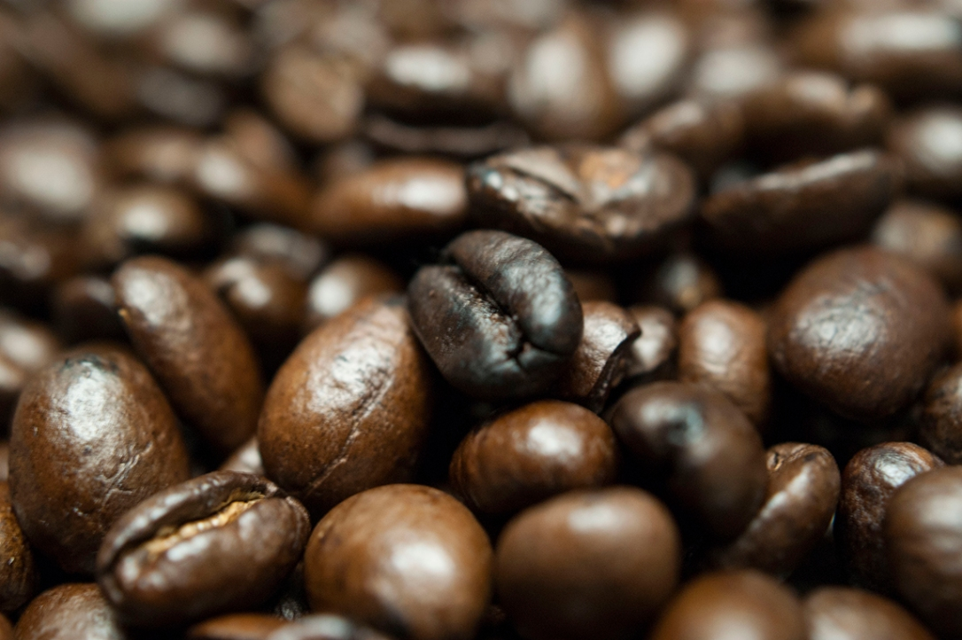 A close-up of coffee beans
