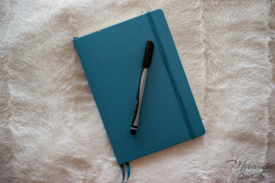 A blue bullet journal with a black marker