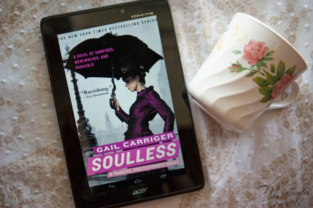 Soulless, by Gail Carriger, next to a teacup