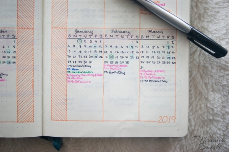 A fairly simple bullet journal future log