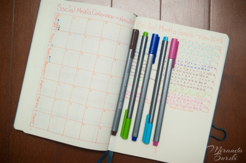 A social media tracking spread in a bullet journal