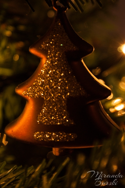 A tree ornament on a Christmas tree