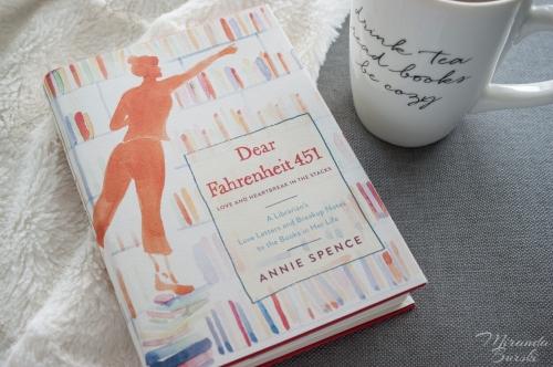 A copy of Dear Fahrenheit 451, by Annie Spence, and a coffee mug