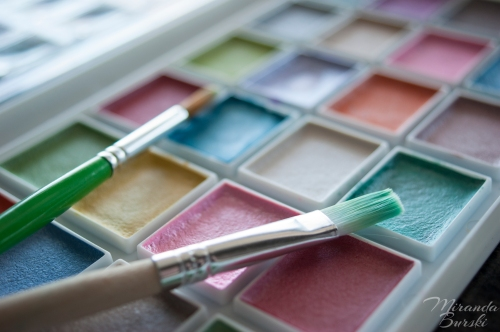 A palette of watercolour paints and two paintbrushes
