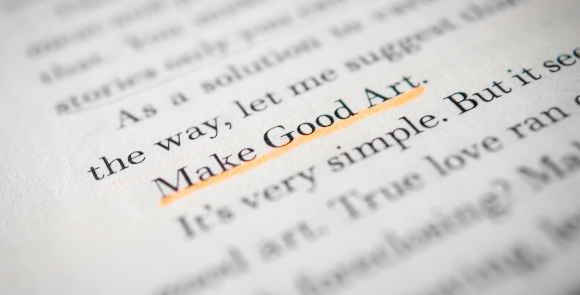 """A close-up of a page of text from Neil Gaiman's speech entitled """"Make Good Art""""."""