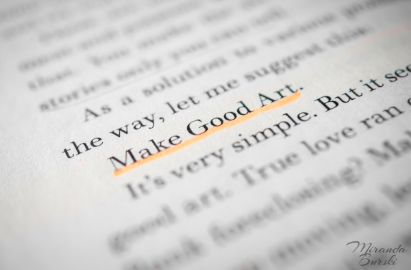 "A close-up of a page of text from Neil Gaiman's speech entitled ""Make Good Art""."