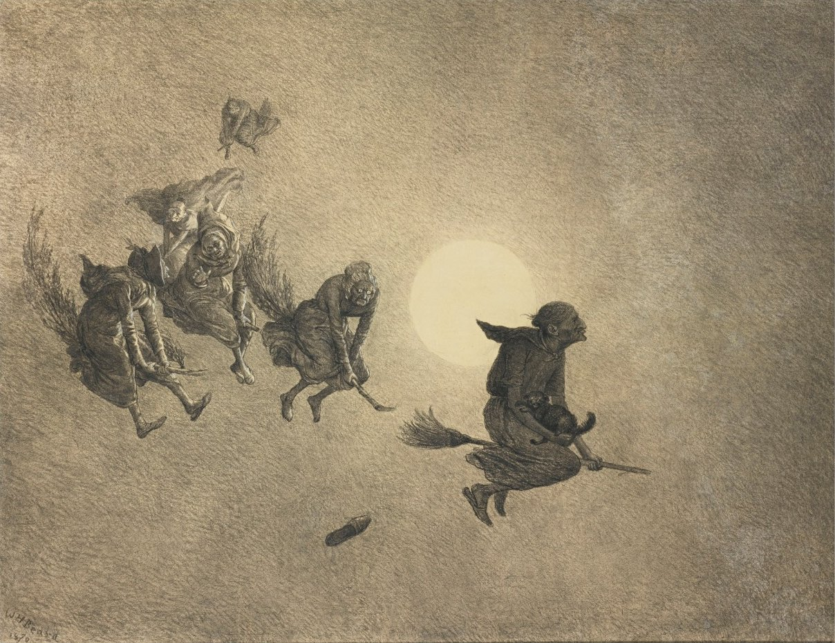 The Witches' Ride by William Holbrook Beard, 1870, charcoal on paper, 35 by 47 in